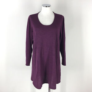 Eileen Fisher L Burgundy Plum Purple Wool Tunic
